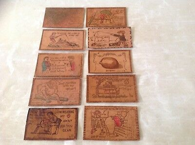VINTAGE LEATHER POSTCARDS A LOT OF 10 Cards