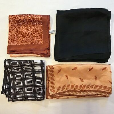 4 Scarves Square Vera Copper Black Rain Acetate Vtg Scarf Lot