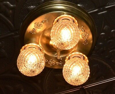Vintage 30's art deco brass 3 light flush ceiling light fixture chandelier