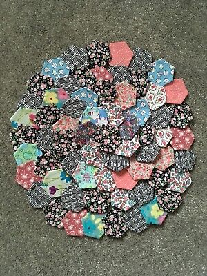 Ready Tacked Selection Of Small Patchwork Hexagons X 70