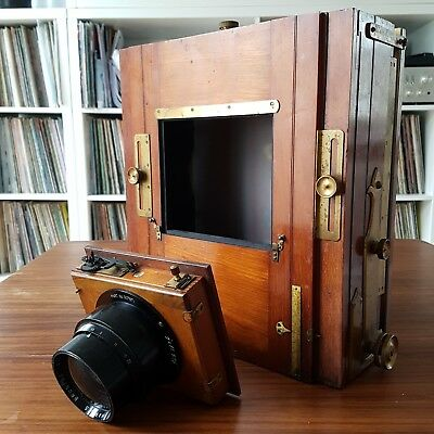 Chambre photo large format 18x24 + lens f6.8 303mm 8x10 camera wood & brass