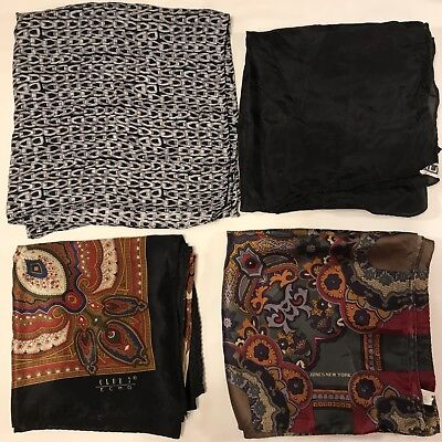 4 Scarves Square All 100% Silk Nicole Miller Echo Jones New York Vtg Scarf Lot