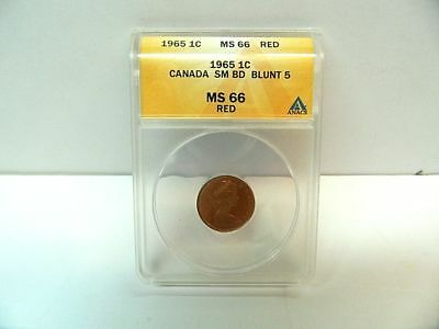1965 Canada Ms-66 Cent Red Sm Bd Blunt 5 Anacs Graded