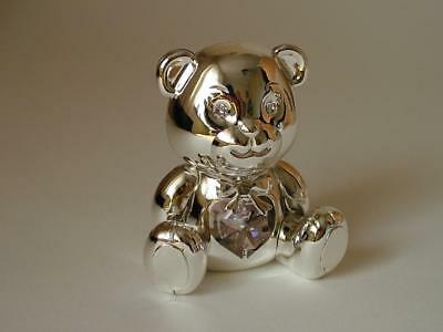 TEDDY BEAR Silver Plate with Pink Crystal Baby Girl Christening Ornament