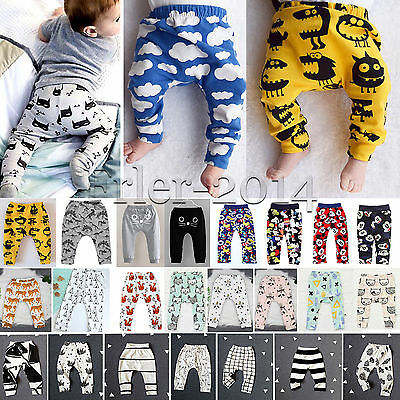 Baby Boys Girls Toddler Printed Harem Pants Trousers Leggings Bottoms Sweatpants