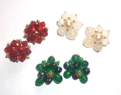 Three Pairs Cluster Clip-on Earrings West Germany White Green Red