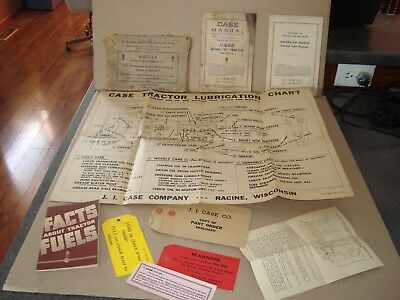 CASE MANUAL CASE MODEL RC TRACTOR and CASE TRACTOR LUBRICATION CHART 1935-36