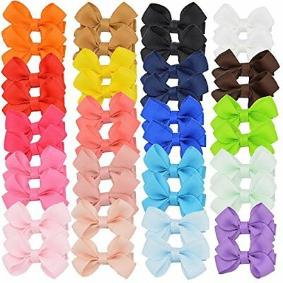 Boutique Toddler Girls Bows with Fully Covered Hair Clips For Pigtails 20 Pairs
