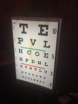 Vintage GOOD-LITE CO. Visual Acuity Lighted Eye Chart On Stand - Very Good