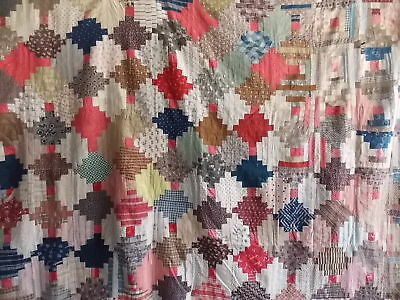 """Vintage Great Old Log Cabin Quilt Top Multi-Color Project Piece  62"""" x 78"""""""