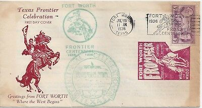 1936 Texas #776 Centennial Cover Fort Worth Frontier Celebration Horse, Cowboy