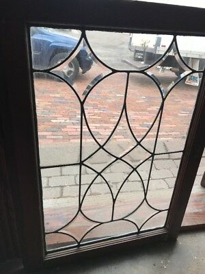 Sg 1951 Antique Beveled Leaded Glass Window 25.25 x 34.5