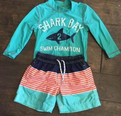 Lot Of 2 Boys Carters Swim Shorts Rash Guard Shirt Aqua Long Sleeve Shark 2t
