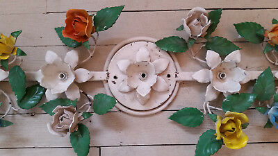 NR Vintage Italian Tag Tole Light Fixture Shabby Cream Roses Chic chippy cottage