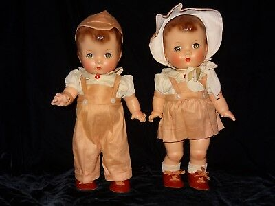 Vintage Effanbee Candy Kid Twins, Boy and Girl, All Original, Composition, EC