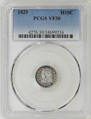 1829 PCGS VF30 Caped Bust Half Dime Nice Strike Nice Type Coin - I-11361