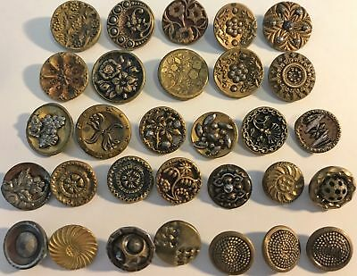 Lot of 30 Antique Vintage Buttons Shanks Brass Copper Floral Art Deco