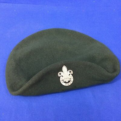 Boy Scout Irish Green Beret & Badge Pin Ireland Hat From 1967