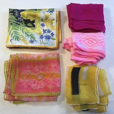 5 Scarves Oblong Echo Vera Burmel Silk Neon Hot Pink Yellow Vtg Scarf Lot Bright