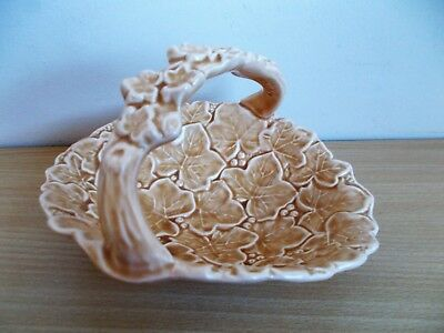 Rare Sylvac Majolica Ivy Leaf Dish / Basket With Handle - Biscuit Colour - Retro
