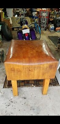 Antique Solid Wood Butcher Block Early 1900's Unique Well Made Heavy Rare Size