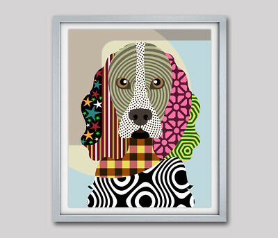 Cocker Spaniel Dog Pop Art Colorful Doggy Print Puppy Canine Portrait  Painting