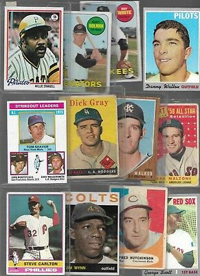 (205) Card 1950s 1960s 1970s Topps Vintage Carlton Stargell Bench Aaron LOT