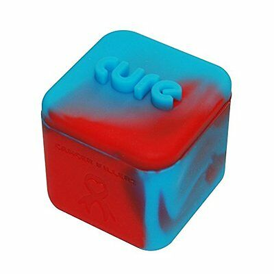 1 Blue and Red Non-stick Shatter Concentrate Silicone Cure Cubes Jar Container