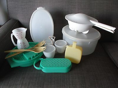 Lot of Vintage 22 piece Tupperware items-Ham holder,cake carrier,dble strain-ect