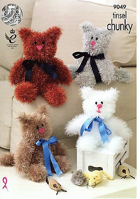 King Cole Tinsel Chunky  Knitting Pattern Tinsel Cats - 9049