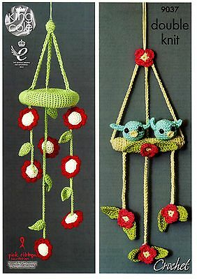 King Cole Crochet Pattern DK Yarn - BABY MOBILES , TWO DESIGNS 9037