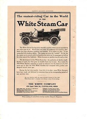1910 HARPER'S MAGAZINE ADD FOR THE WHITE STEAM CAR by THE WHITE CO CLEVELAND O