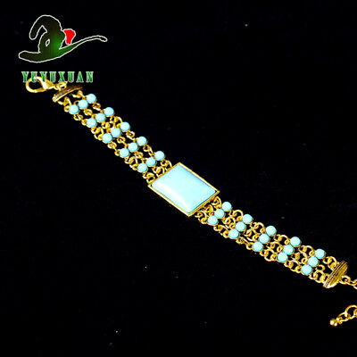 Gold-plated Bracelet Inlay Turquoise Beads & Rhinestones S5025A