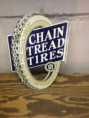 Vintage 30's  Style Die Cut  Chain Tread Gas Station Tire Display Sign Mobil