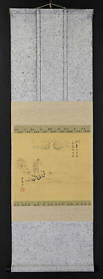 JAPANESE HANGING SCROLL ART Painting Scenery Asian antique  #E9829