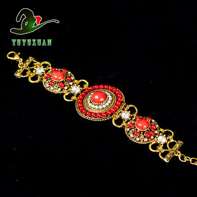 Gold-plated Bracelet Inlay Red Turquoise Beads & Rhinestones S5021A