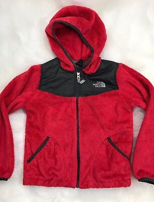 The North Face Hooded Denali Osito Fleece Jacket Coat Girls Red Sz S 7/8