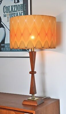 Danish atomic mid century 'FLUGA' Teak table lamp Retro & NEW Bespoke shade