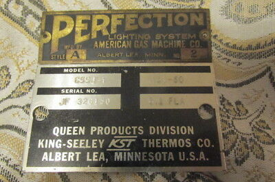 Factory Equipment Tags Perfection American Gas Queen Products Label Albert Lea