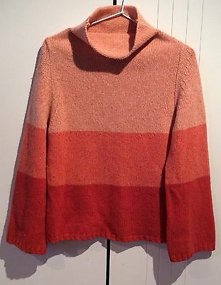 Womens Vintage Witchery Orange Lambswool Fade Up High Neck Jumper Size S