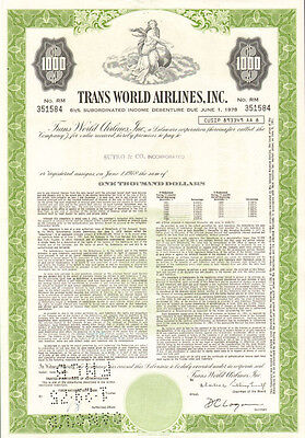 Trans World Airlines > $1,000 TWA bond certificate stock share