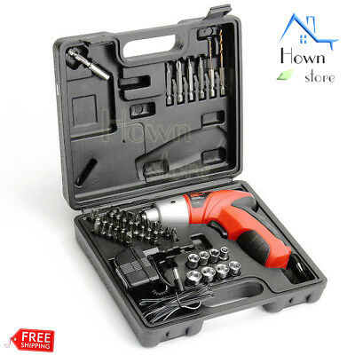 Combo Cordless Compact Screw Driver Drill Bits Kit Rechargeable Set Box