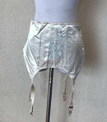 Antique Joan Browne 4 Garter Belt Open Satin Panel Girdle Size 36 Embroidered