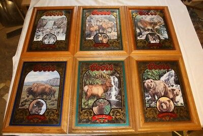 Coors Beer Nature Series 1-6 Wolf Sheep Lion Buffalo Elk Bear Mirror Numbered