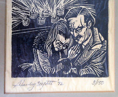 Signed Dated Numbered STANLEY WYATT '72 Linocut Religious Literary New York