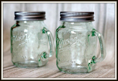 NEW Mason Craft and More Salt-and-Pepper Shaker Set Set of 2 Clear Glass Green