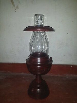 Traditional Wooden Candle Lamp Antique Lamp Sri Lankan Wood Carving Free Shippin