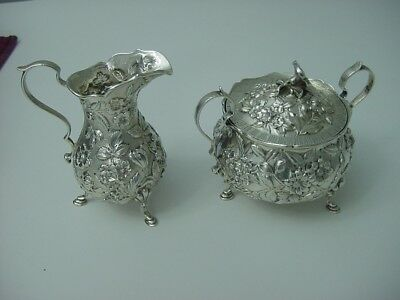 Sterling silver S. Kirk & Son Creamer and Sugar on legs crisp detail