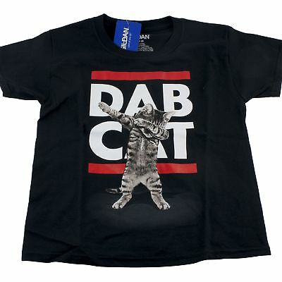 Dab Cat Kitten Boys T-Shirt Sz M 8 L 10/12 Funny
