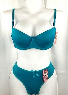 Women's Green  Push-Up Bra & Panty Panties Set Compare to Victoria's Secret